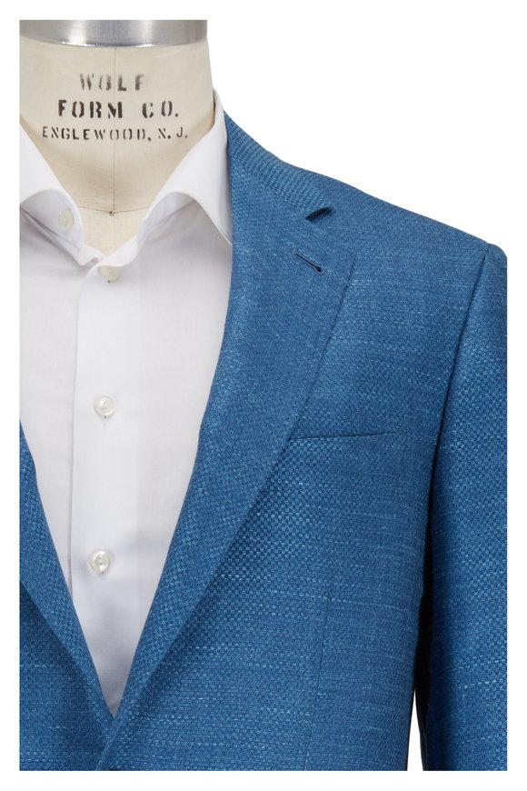 Canali Teal Hopsack Wool, Silk & Linen Sportcoat