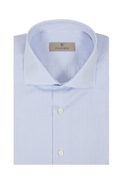 Canali - Light Blue Check Dress Shirt