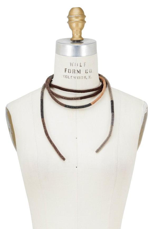 Brunello Cucinelli Multi Monilli & Leather Wrap Necklace