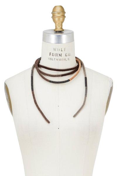 Brunello Cucinelli - Multi Monilli & Leather Wrap Necklace