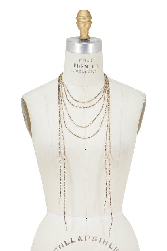Brunello Cucinelli Gold Pyrite Multi Strand Necklace