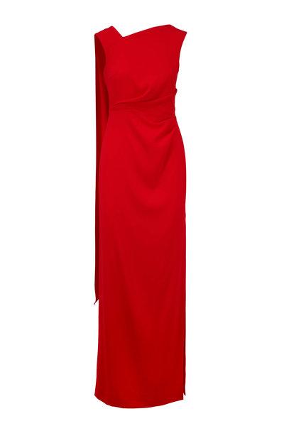 Escada - Geanna Red Ruby Side Slit Gown