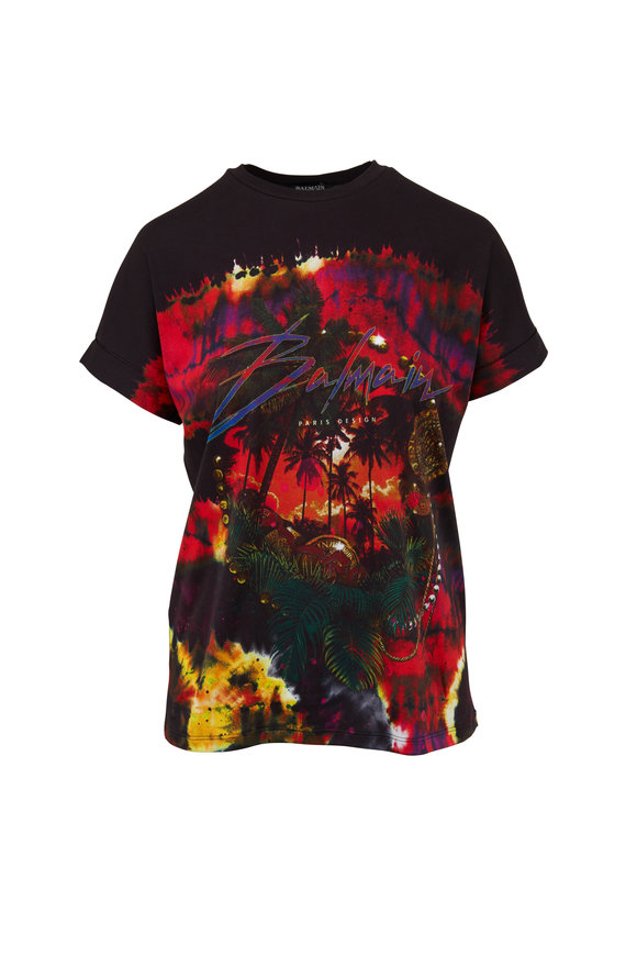 Balmain Black & Red Palm Tree Logo T-Shirt