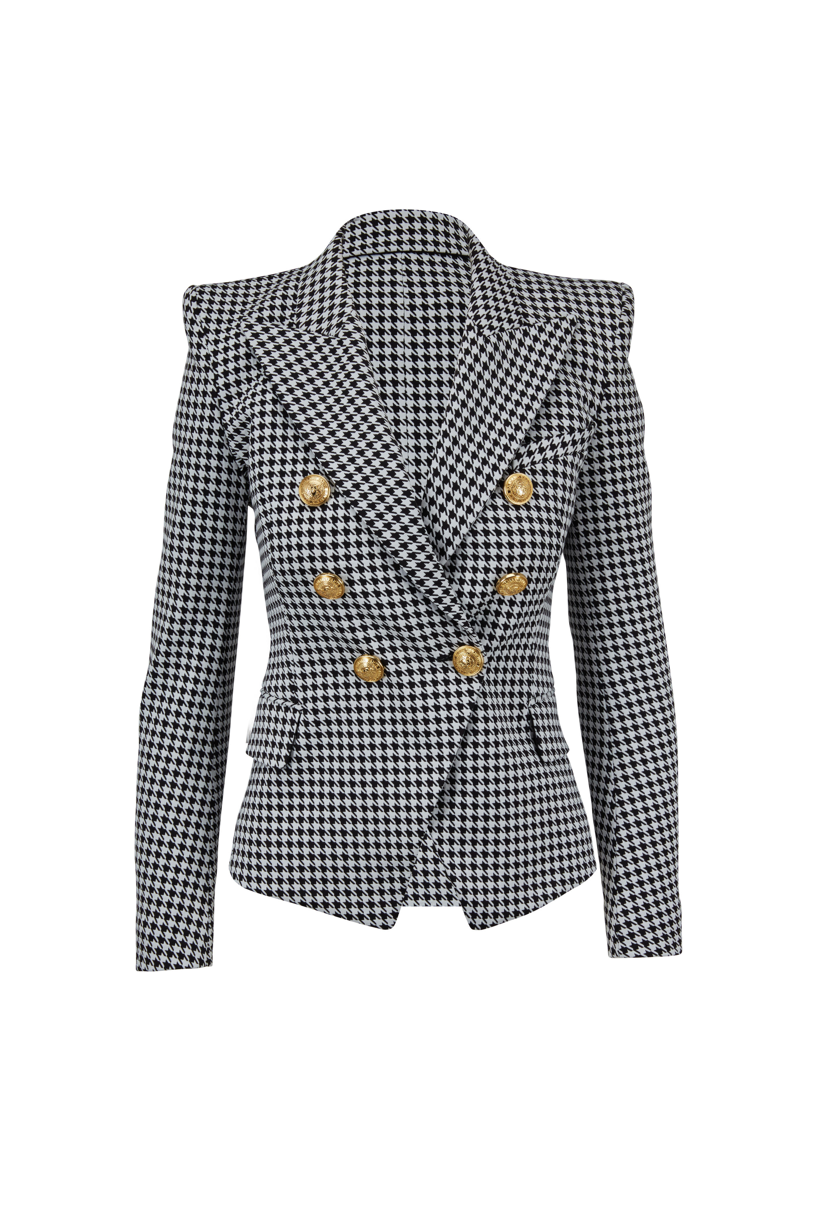 7af6e3dc Balmain - Black & White Houndstooth Double-Breasted Jacket ...