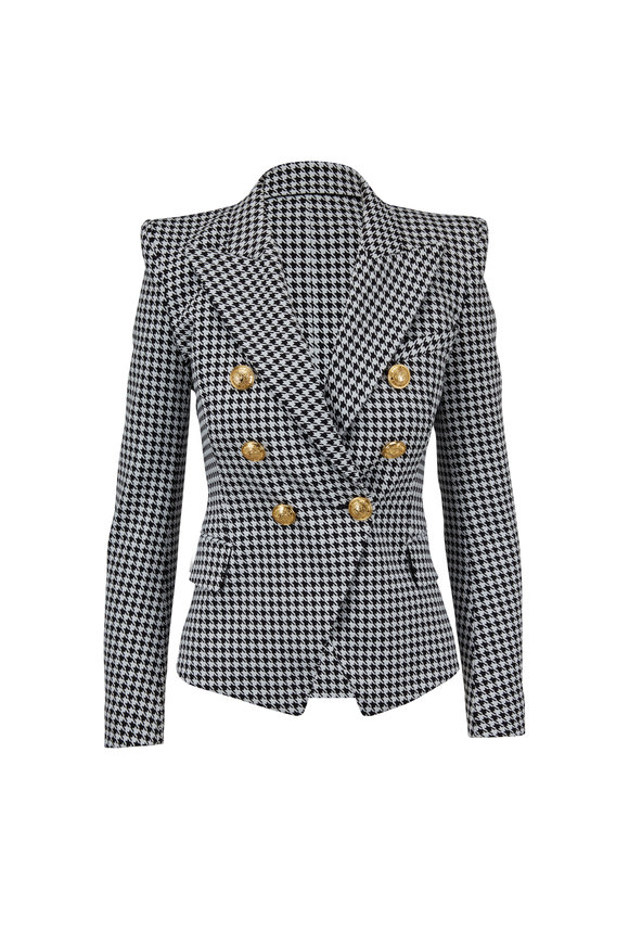 Balmain Black & White Houndstooth Double-Breasted Jacket
