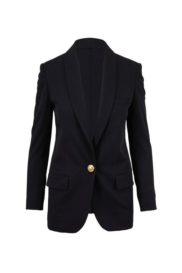 Balmain Black Wool Single Button Jacket