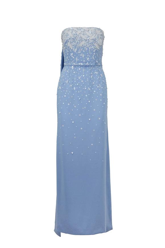 Oscar de la Renta Wedgewood Blue & White Embroidered Strapless Gown