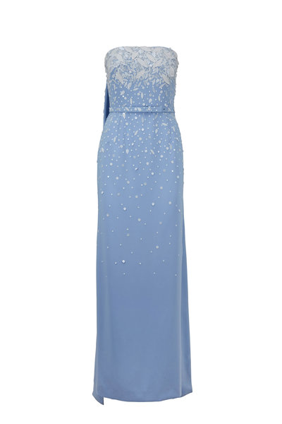 Oscar de la Renta - Wedgewood Blue & White Embroidered Strapless Gown