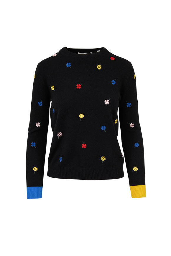 Chinti & Parker Black Embroidered Magic Clover Sweater