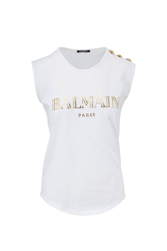 Balmain White Foil Logo Shoulder Button T-Shirt