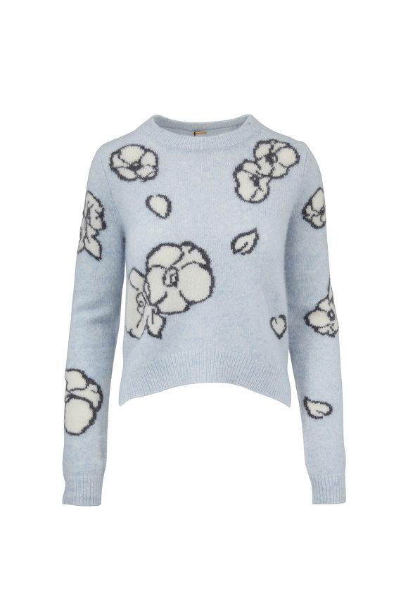 Adam Lippes Ice Blue Cashmere & Silk Floral Intarsia Sweater