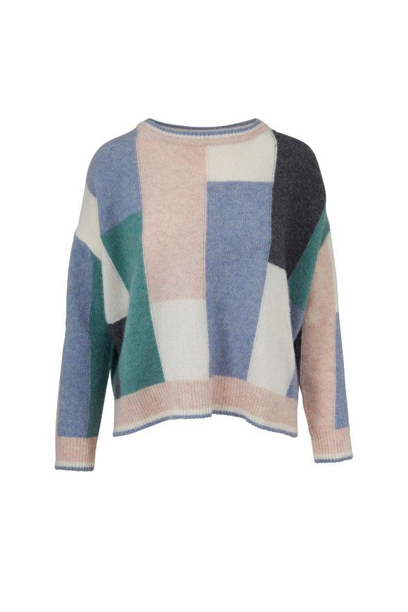 Adam Lippes Blue & Green Colorblock Cashmere & Silk Sweater