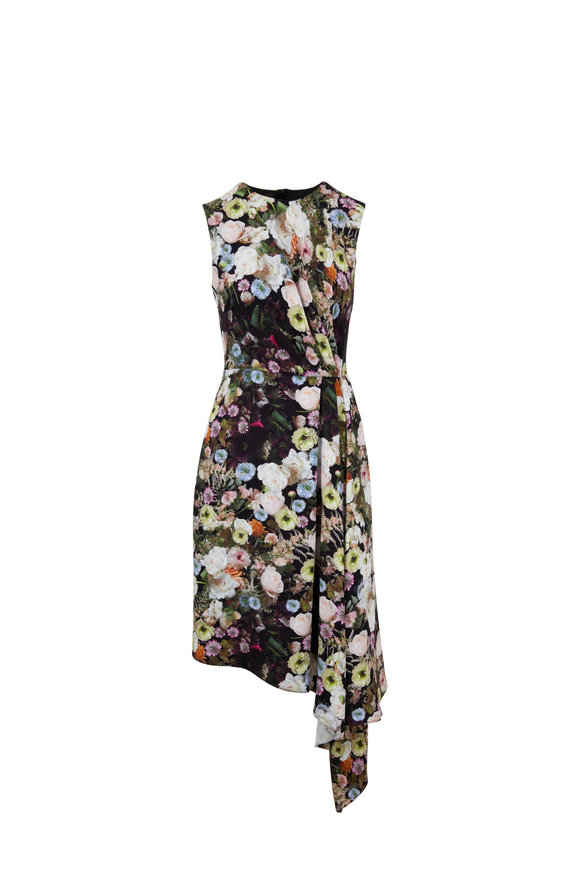 Adam Lippes Black Floral Silk Side Drape Dress