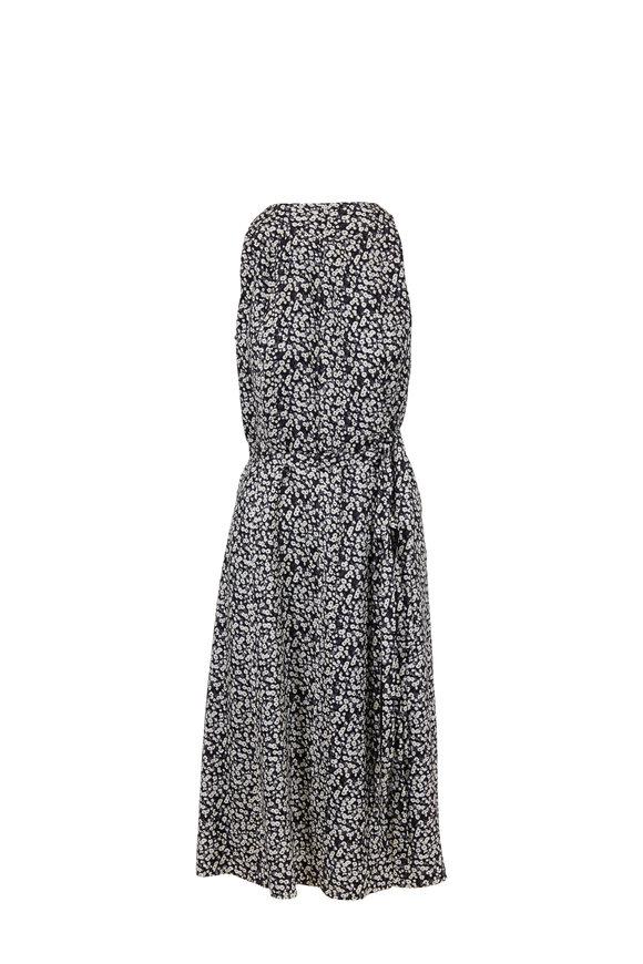 Derek Lam Black & White Poppy Silk Side Tie Dress