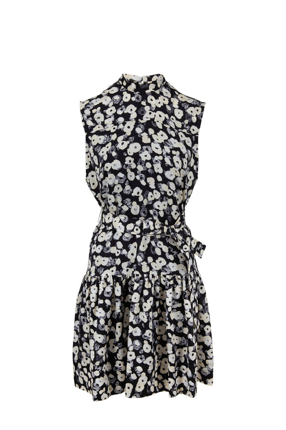 Derek Lam Navy & White Poppy Ruffled Hem Sleeveless Dress