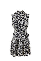Derek Lam - Navy & White Poppy Ruffled Hem Sleeveless Dress