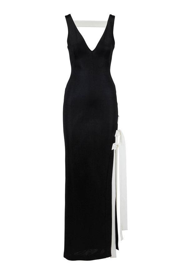 Galvan Laced Black Jersey Side Tie V-Neck Gown