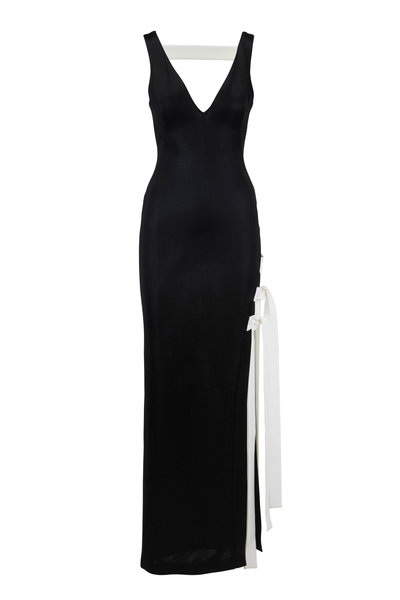 Galvan - Laced Black Jersey Side Tie V-Neck Gown