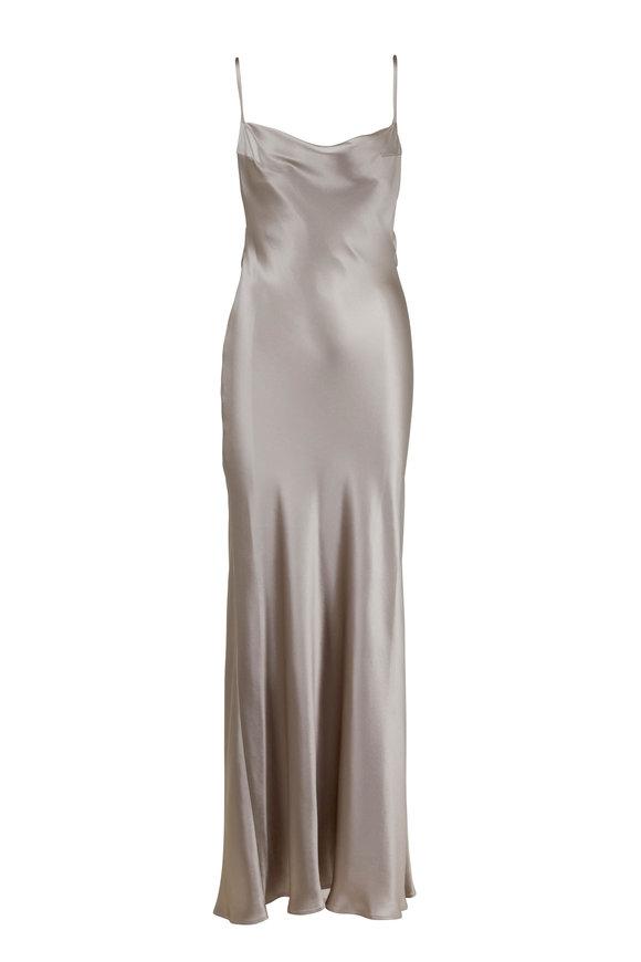 Galvan Whiteley Platinum Heavy Silk Cowlneck Gown