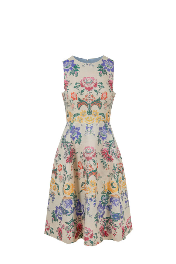 Carolina Herrera Malt & Multicolor Paisley Cotton & Silk Dress