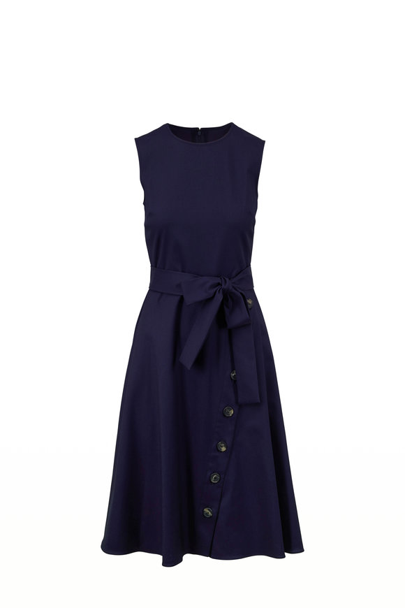 Carolina Herrera Navy Cotton Button Detail Sleeveless Dress