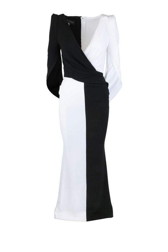 Talbot Runhof Black & White Checkerboard Stretch Crepe Gown