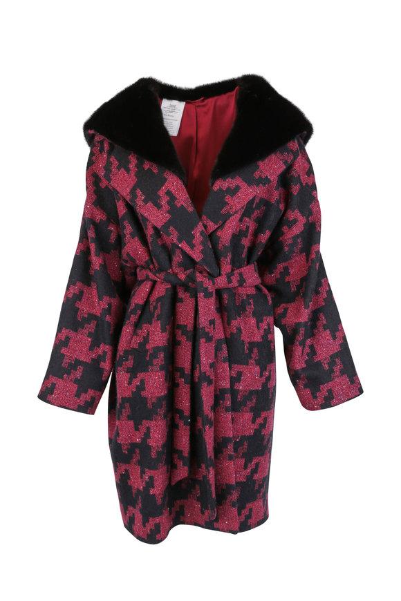 Kiton Burgundy Cashmere, Silk & Mink Trim Hooded Coat
