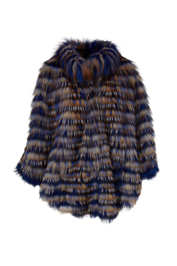 Viktoria Stass Blue, Rust & White Fox Poncho