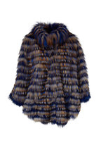 Viktoria Stass - Blue, Rust & White Fox Poncho