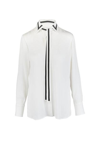 Valentino - Ivory & Black Georgette Tie-Neck Blouse