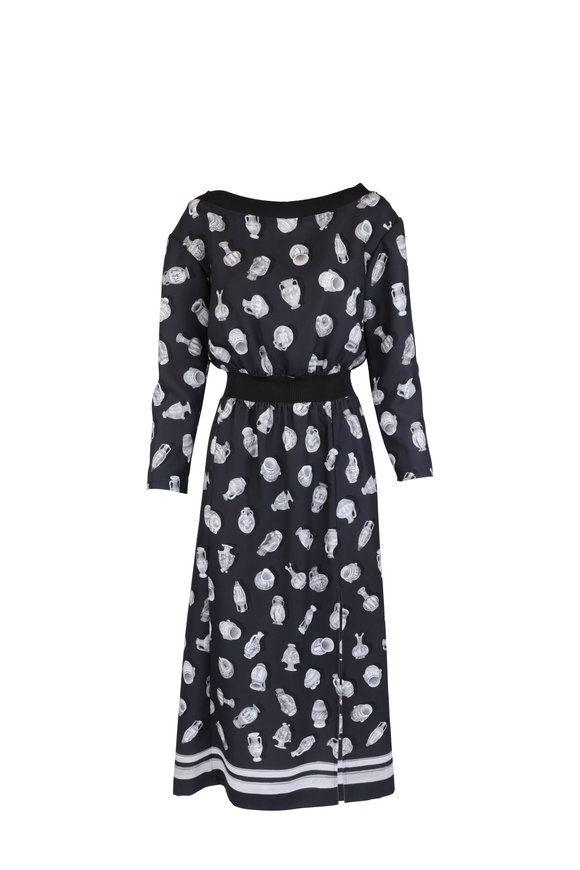 Altuzarra Paolo Black Vase Print Off-The-Shoulder Dress