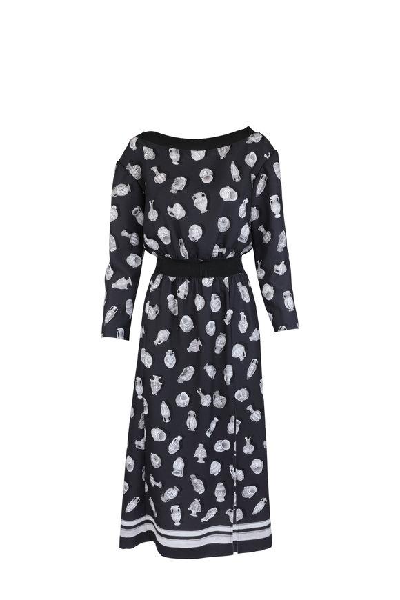Altuzarra Paolo Black Vase Print Off-The-Shoulder Dress