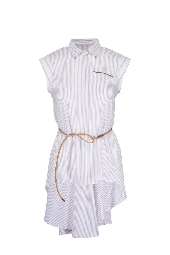 Brunello Cucinelli Light Blue & White Striped Leather Belted Blouse