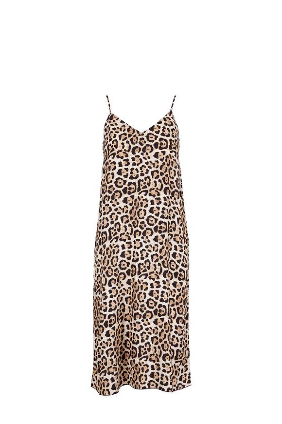 A T M Leopard Print Silk Dress