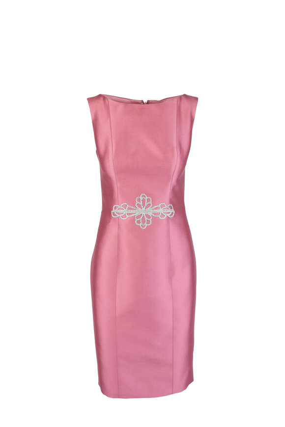 Donald Deal Rose Crystal Applique Sleeveless Dress