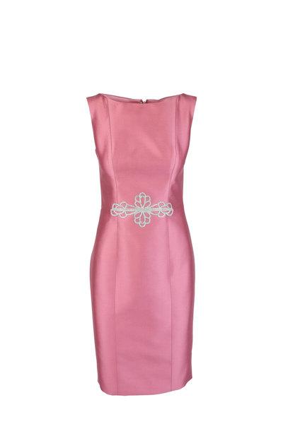 Donald Deal - Rose Crystal Applique Sleeveless Dress