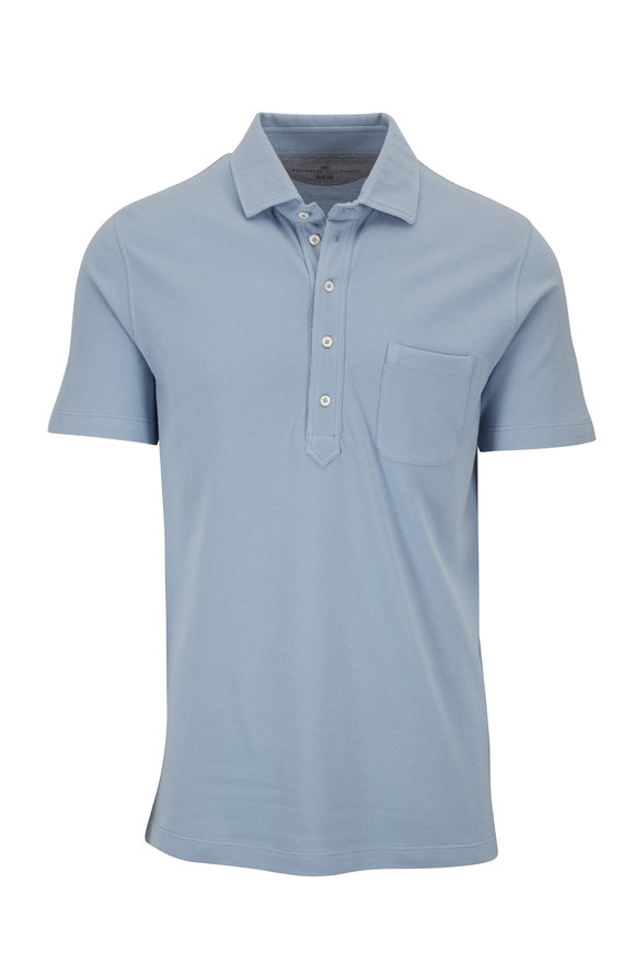 Brunello Cucinelli Light Blue Piqué Slim Fit Polo
