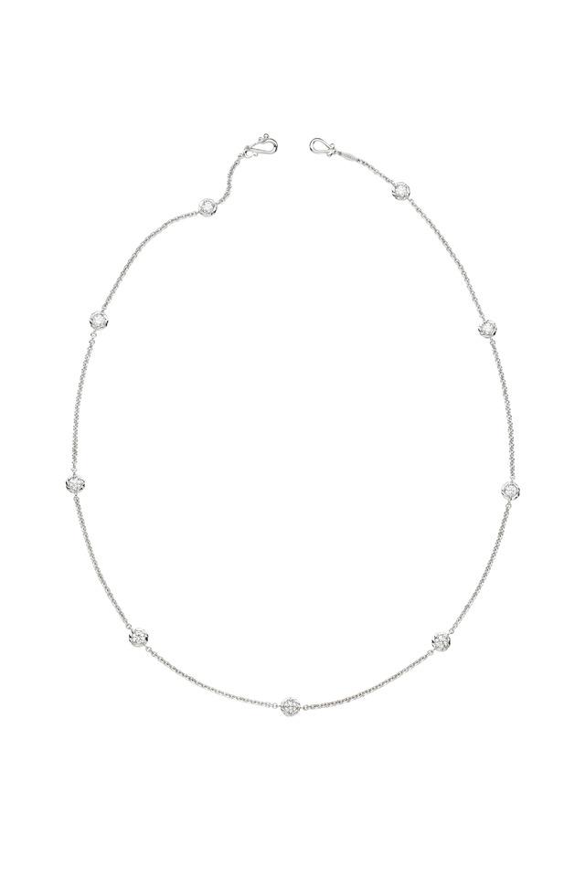 White Gold White Diamond Station Necklace