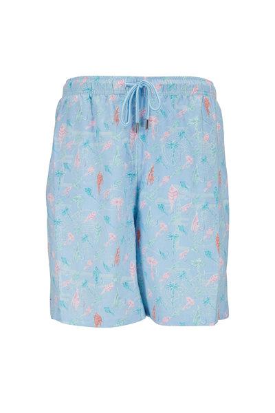 Peter Millar - Seaside Cottage Blue Fly Fish Swim Trunks