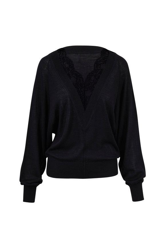 Chloé Black Wool & Silk Lace Trim V-Neck Sweater