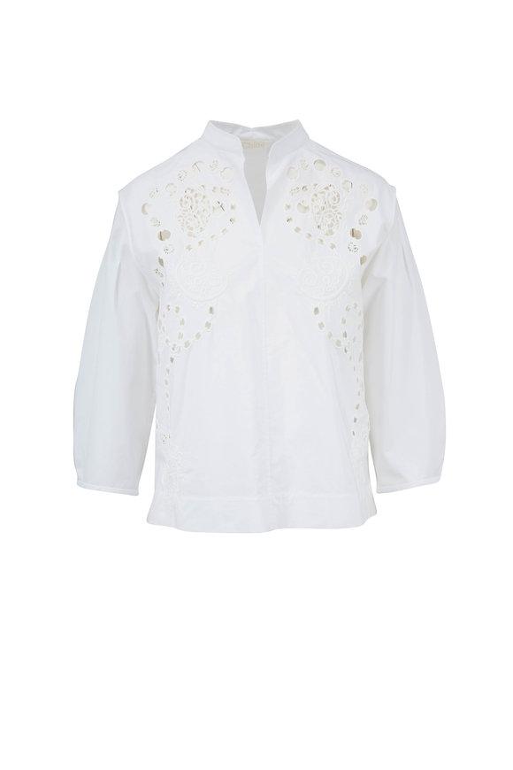 Chloé White Poplin Eyelet Embroidered Blouse