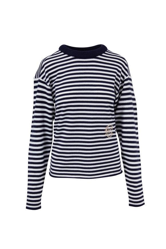 Chloé White & Navy Striped Cashmere Sweater