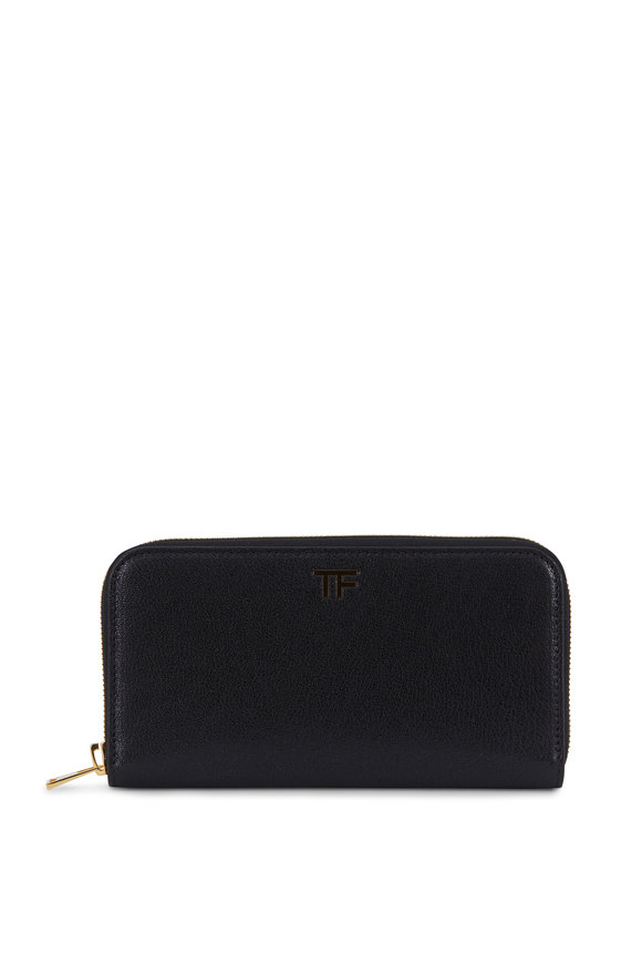 Tom Ford Black Grained Leather Zip-Around Wallet