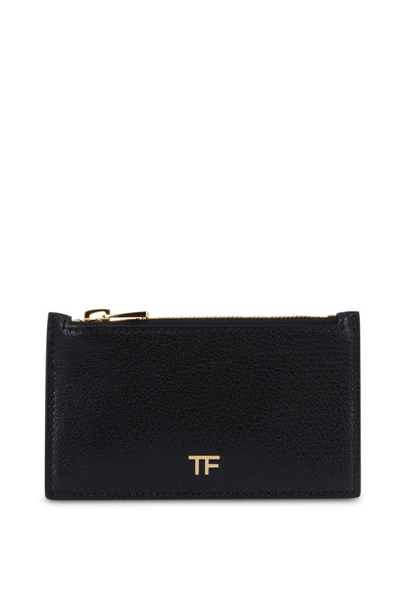 Tom Ford Black Leather Slim Zip Card Holder