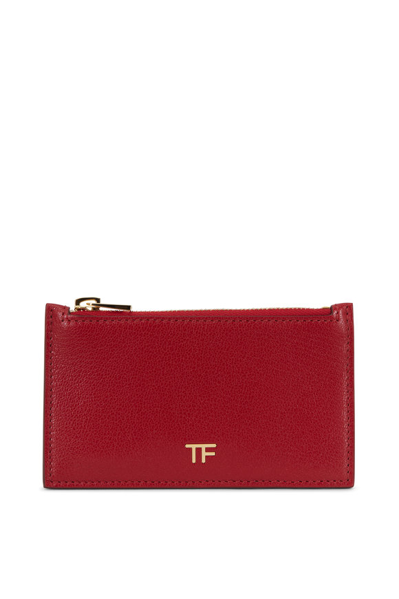 Tom Ford Dark Red Slim Zip Card Holder