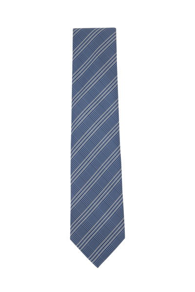 Brioni - Light Blue Plaid Silk Necktie