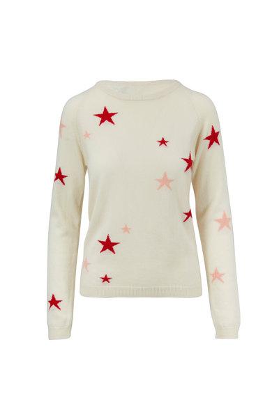 Chinti & Parker - Cream & Peach Stars Cashmere Sweater