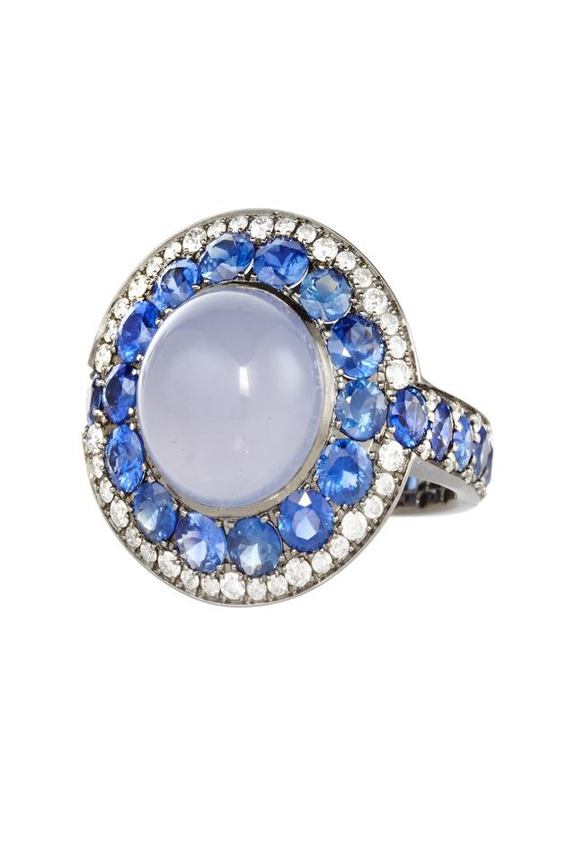 White Gold Chalcedony & Sapphire & Diamond Ring