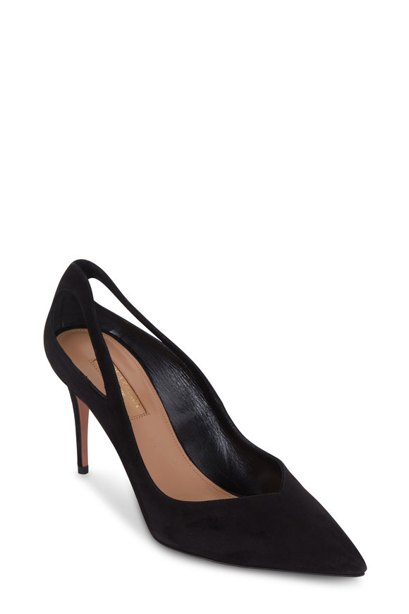 Aquazzura Shiva Black Suede Cut-Out Pump, 85mm