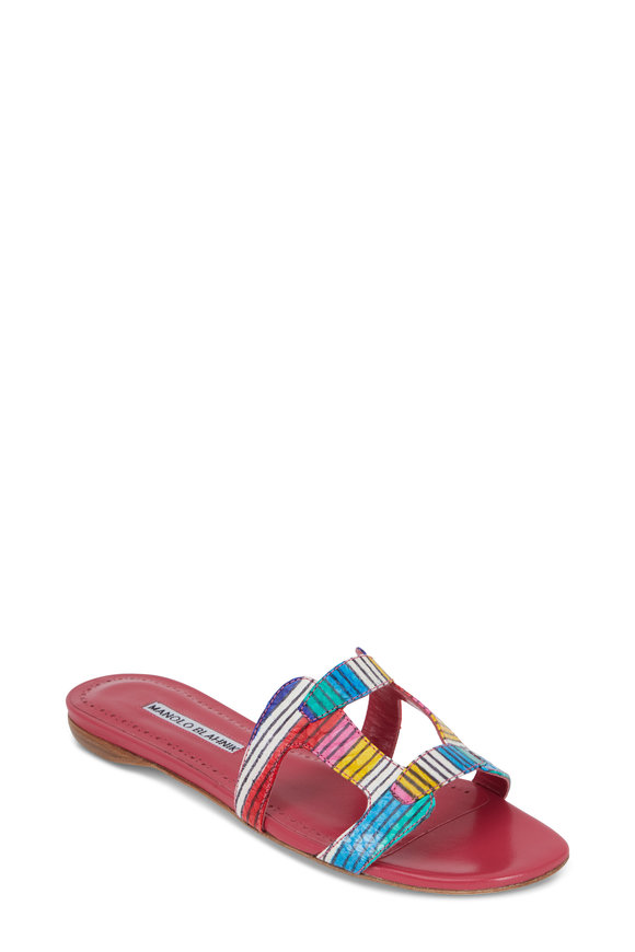 Manolo Blahnik Grellaperf Multi-Color Snakeskin Flat Sandal